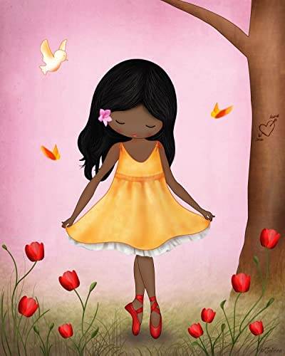 African American Girl Wall Art Room Decor Pink Kids Bedroom Decoration Dark  Hair And Skin Color