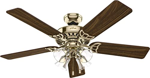 52 Studio Series 5 Blade Ceiling Fan Finish Brass with Walnut Medium Oak Blades