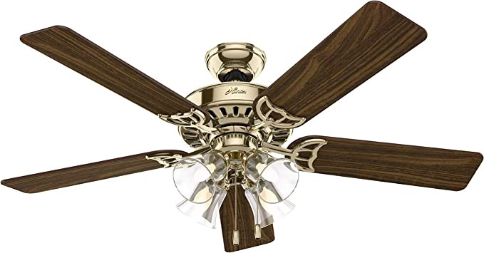 52 Studio Series 5 Blade Ceiling Fan Finish Brass With Walnut Medium Oak Blades Amazon Com