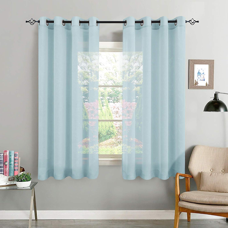 TOPICK Voile Vorhang Mit Ösen Transparent Gardine Gaze Paarig Ösenschals  für Wohnzimmer Schlafzimmer 112 x 112 cm H x B 12er Set