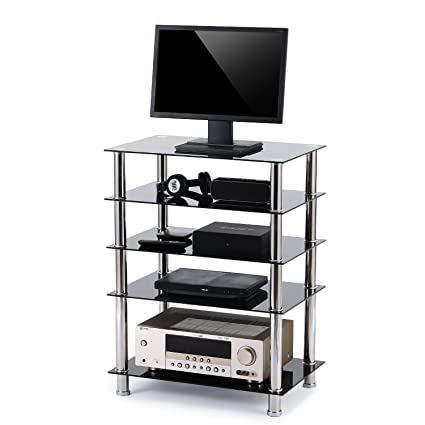Rfiver 5 Tier Black Glass Audio Video Tower For TV, Xbox, Gaming Consoles