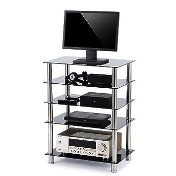 Amazon Com Rfiver 5 Tier Black Glass Audio Video Tower For Tv Xbox