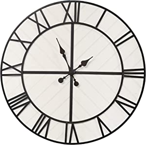 Stratton Home Décor Stratton Home Decor Oversized 31.50 inch Henry Black and White Wood Wall Clock, 31.50 X 1.57 X 31.50