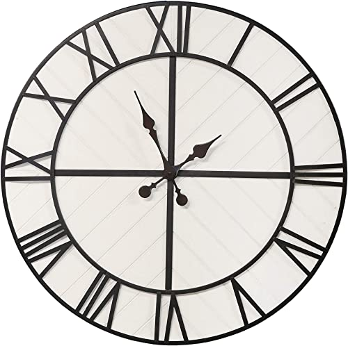 Stratton Home D cor Stratton Home Decor Oversized 31.50 inch Henry Black and White Wood Wall Clock