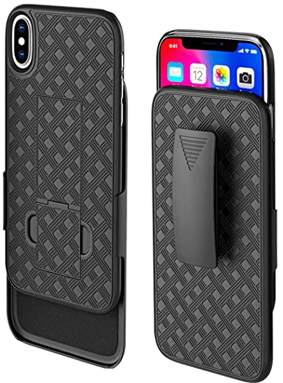 half off ffda8 6d53e Bomea iPhone X/XS Holster Case, Hard Belt Clip Case Holster Combo Case with  Kickstand w/Belt Clip for Apple iPhone X iPhone Xs/iPhone 10 - Black