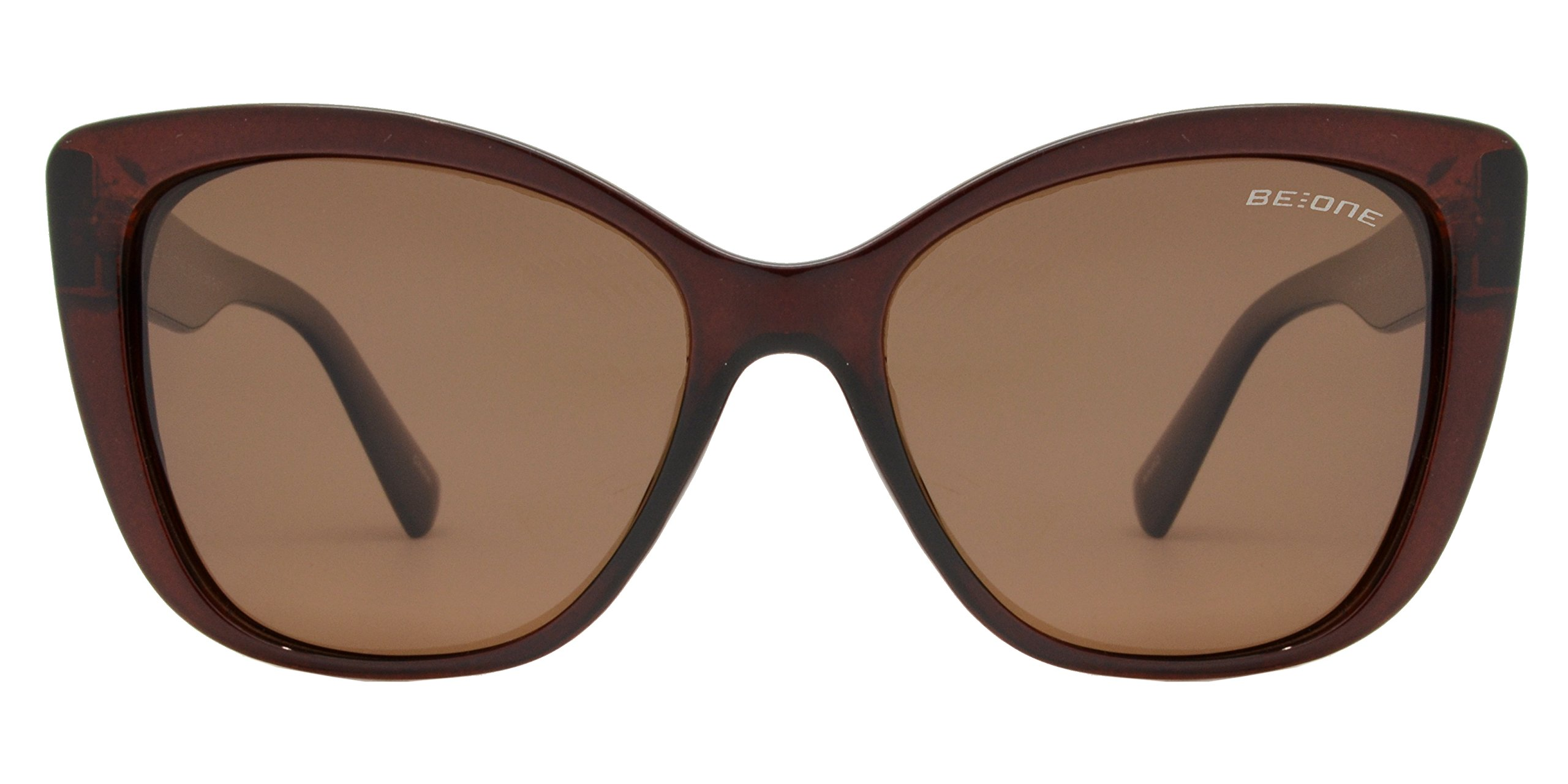 Be One Women Cat Eye Oversize Design Sunglasses- Polarized UV400 Rimmed Classic Retro (Brown, Brown)