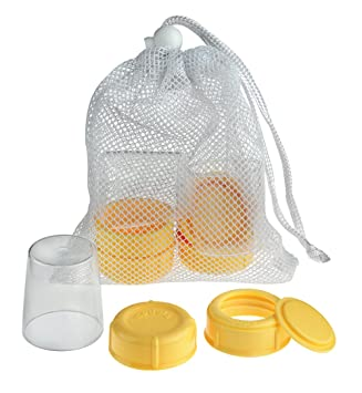 Includes Convenient Mesh Bag for Easy Washing Medela Spare Parts for Breast Milk Bottles Bottle Spare Parts Made Without BPA and Discs Collars Lids Extra Caps