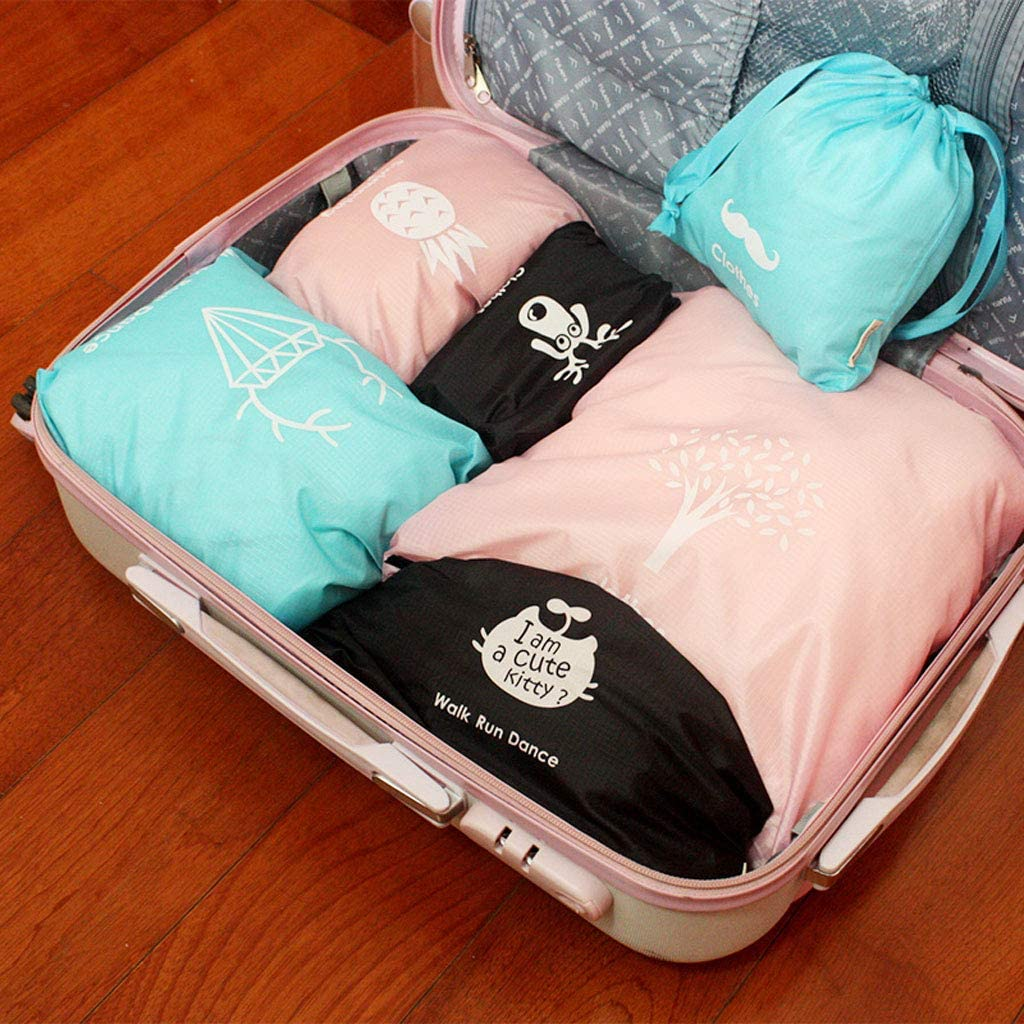 Color : Black min 6 Set Packing Cubes Organizers for Travel Luggage Suitcase Bag for Underwear Shirts Trousers Shoes Toiletry