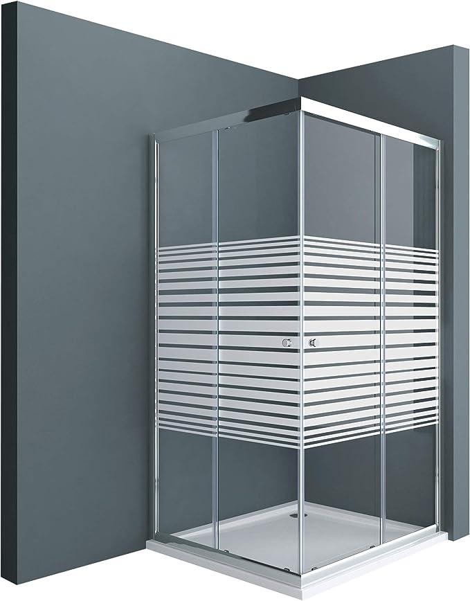 Sogood: Cabina de ducha de esquina Rav16MS 70x70x190 Mampara de vidrio templado con franjas de vidrio esmerilado 6mm, incluye plato de ducha | puerta corredera: Amazon.es: Bricolaje y herramientas