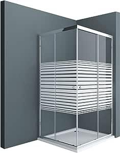 Sogood: Cabina de ducha de esquina Rav16MS 70x100x190 Mampara de vidrio templado con franjas de vidrio esmerilado 6mm | puerta corredera: Amazon.es: Bricolaje y herramientas