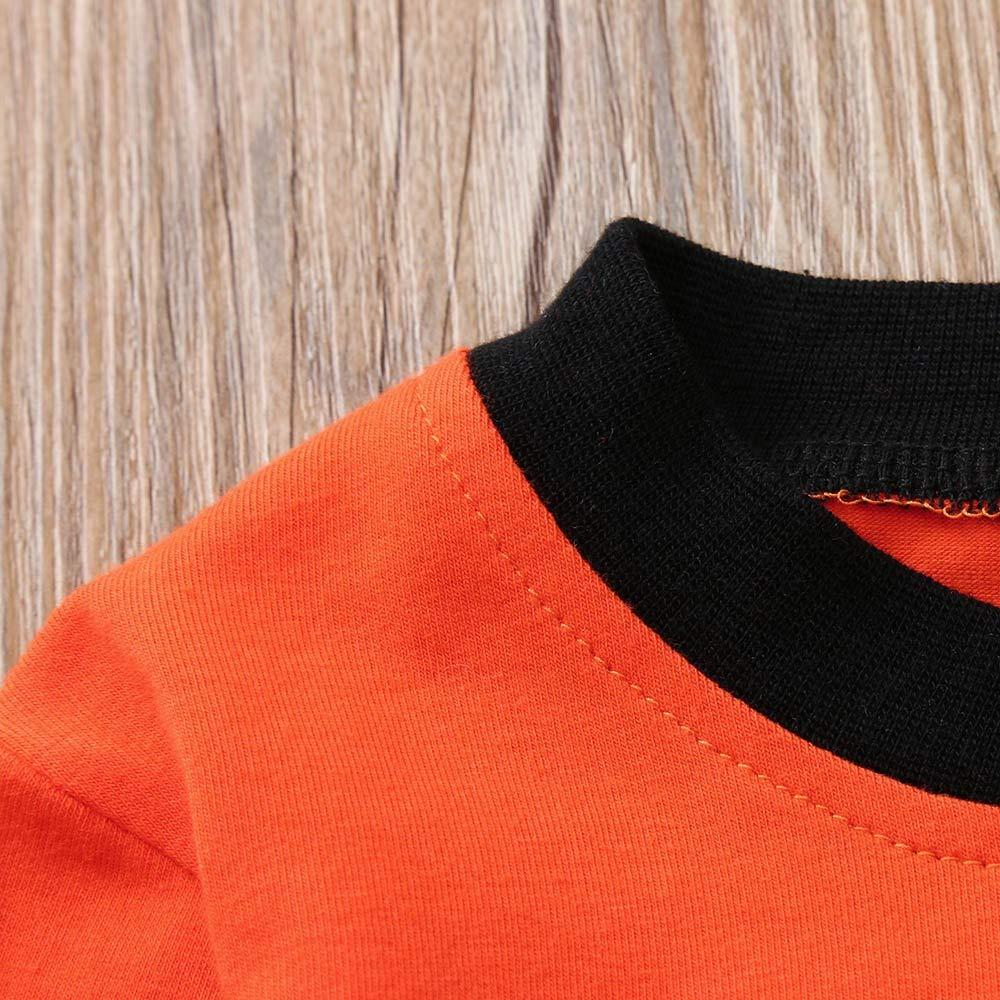 Lurryly ❤Halloween Cartoon Striped Print Newborn Baby T-Shirt Tops+Pants Set Clothes 0-2T