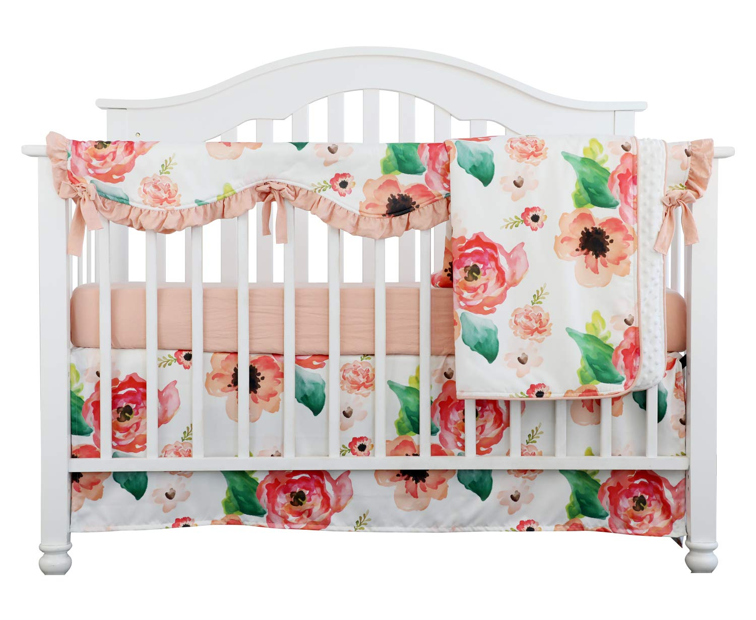 4PCS Crib Rail Guard Set Boho Floral Nursery Baby Bedding Ruffled Crib Skirt Crib Rail Cover Set (Ruffle Coral Watercolor)