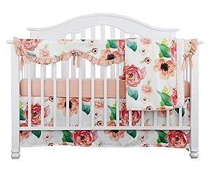 4PCS Crib Rail Guard Set Boho Floral Nursery Baby Bedding Ruffled Crib Skirt Crib Rail Cover Set (Ruffle Coral Watercolor)