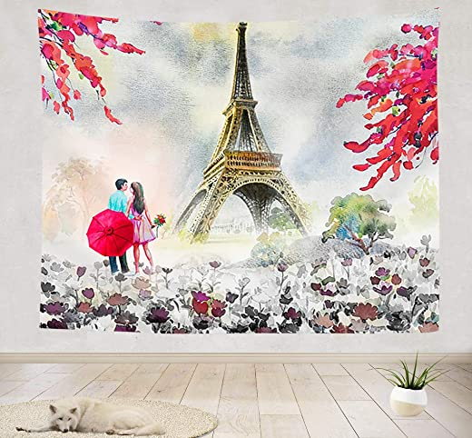 Paris Eiffel Tower Tapestry, Modern Couple and Cherry Blossoms Under Eiffel Tower Wall Tapestry, Paris European City View Oil Painting Tapestry Wall Hanging for Bedroom Living Room Dorm, 90X70IN