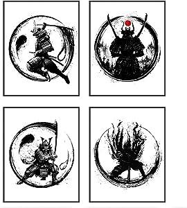 Samurai Wall Art, Japanese Wall Art | Samurai Poster, Set of 4 (8x10