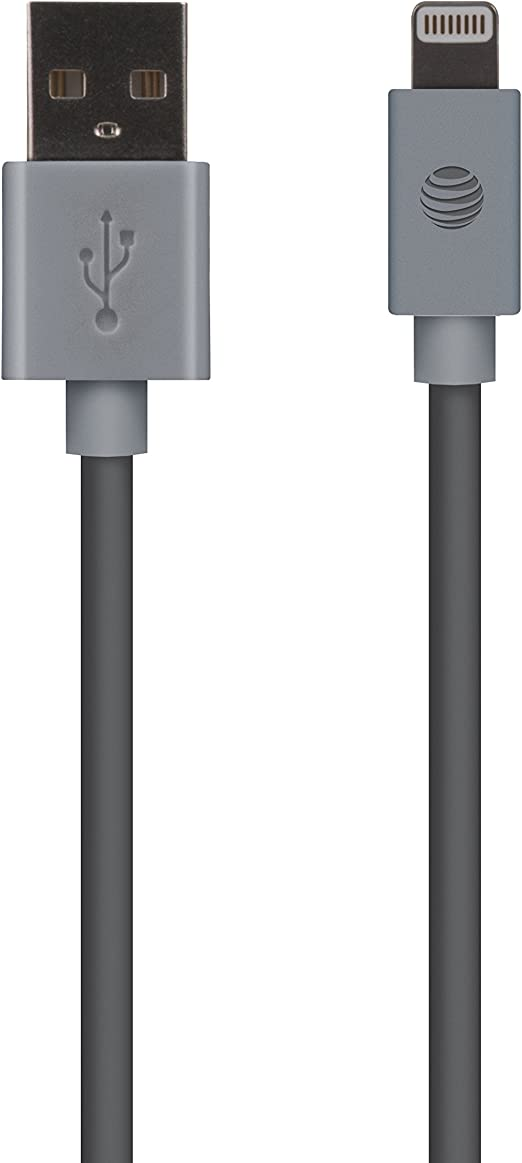 AT&T Apple Mfi Certified Lightning to USB Cable 10 feet for iPhone Devices with Lightning Connector (8 pin) Gray