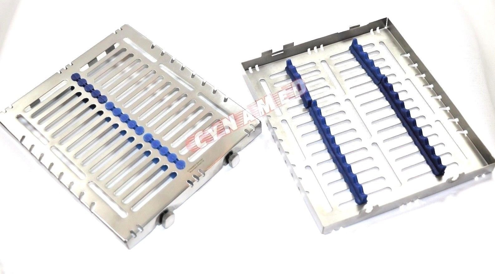 4 German Dental Autoclave Sterilization Cassette Tray for 15 Instruments 8.25X7.25X1.25'' Pink and Blue CYNAMED by CYNAMED (Image #5)