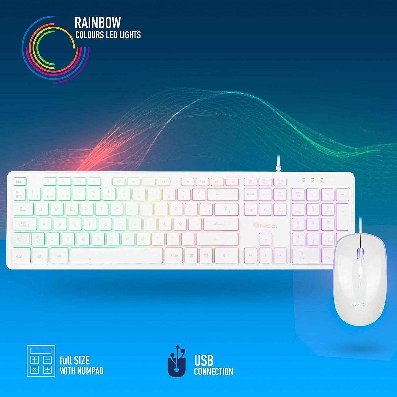 NGS SPRITEKIT Teclado Multimedia y Ratón con Cable, Retroiluminado, Mouse Óptico 800/1200/1600 dpi, Teclado QWERTY Español, Gaming, Color Blanco