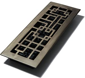 Decor Grates AB414-RB 4-Inch by 14-Inch Abstract Floor Register, Solid Brass with Rubbed Bronze Finish