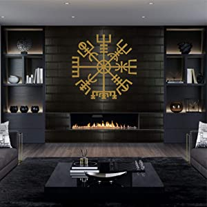 DEKADRON Metal Wall Art, Gold Metal Viking Decor, Nordic Mythology Vegvisir Runes and Symbols, Metal Wall Decor, Norse, Home Decor, Interior Decoration (28