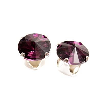 4321b7673e1bb pewterhooter 925 Sterling Silver stud earrings expertly made with Amethyst  crystal from SWAROVSKI® for Women