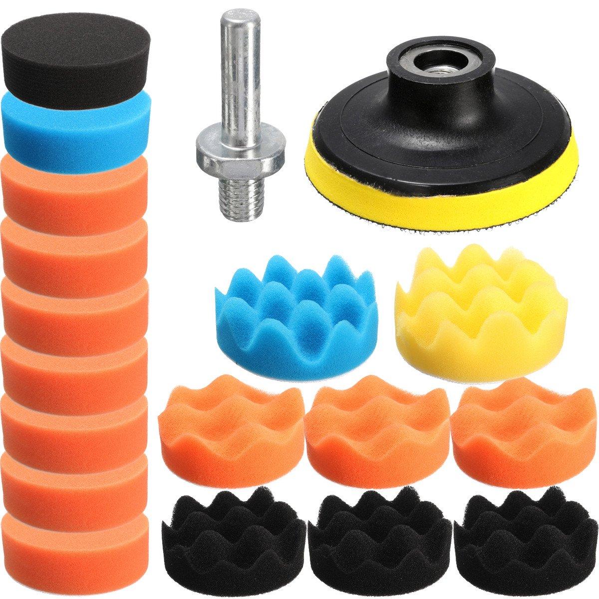 QOJA drillpro 19pcs 80mm flat sponge buff buffing pad polishing