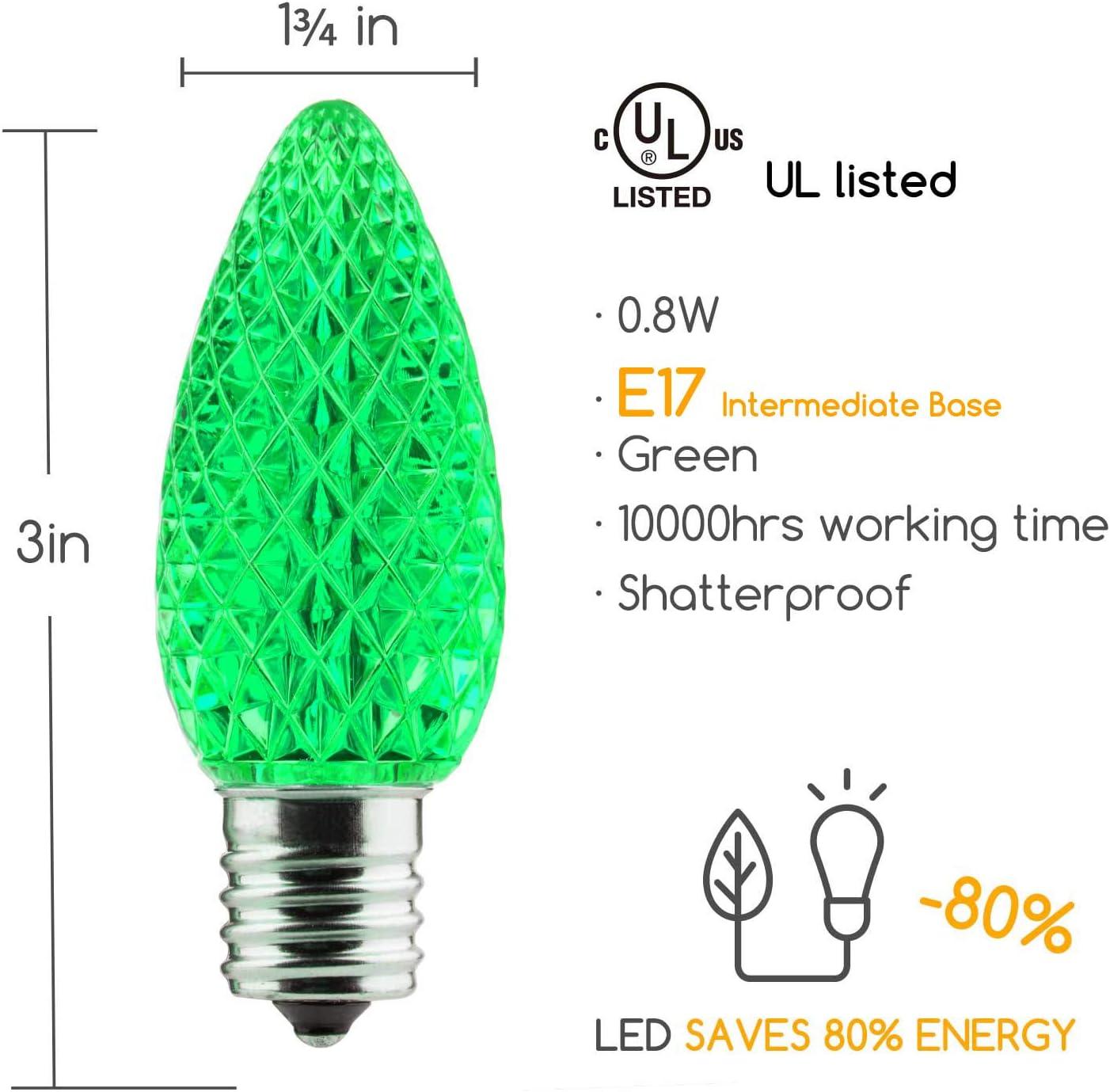Warm White LEDs E17 Intermediate Base C9 Shatterproof LED Bulb for Christmas String Light Brightown 50 Pack C9 LED Replacement Christmas Light Bulb Commercial Grade Dimmable Bulbs 2 Diode