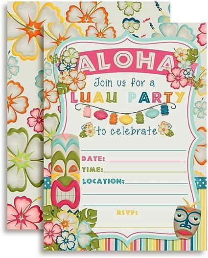 Tropical Luau Fiesta De Cumpleaños Invitaciones De Rellenar En Juego De 10 Con Sobres Perfecto Para El Verano Y Fiestas Temáticas Hawaianas Toys Games