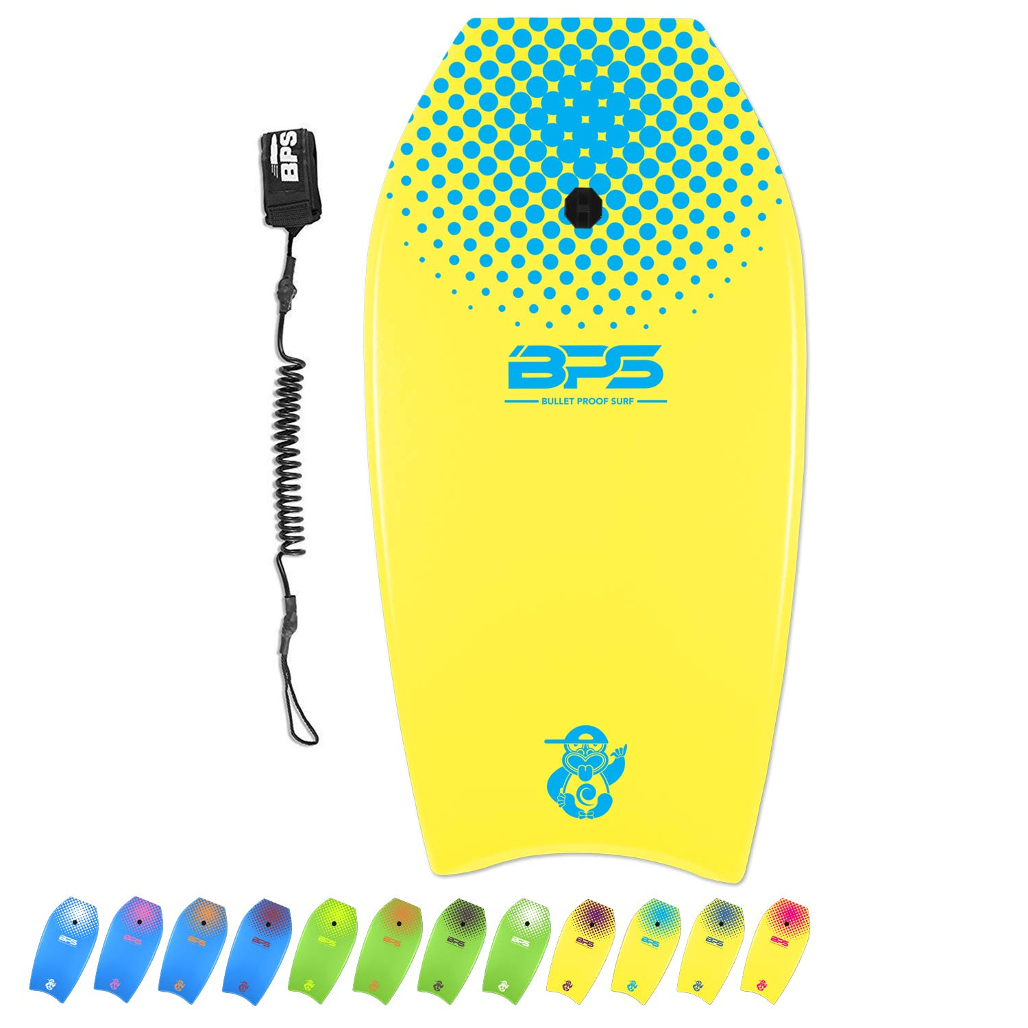 BPS 'Green Machine' 33'' Bodyboard - Kids Adult Surfers - EPS Core Lightweight High-Speed Balance - Comes with Black Wrist Leash (Yellow, Blue Accent) by BPS