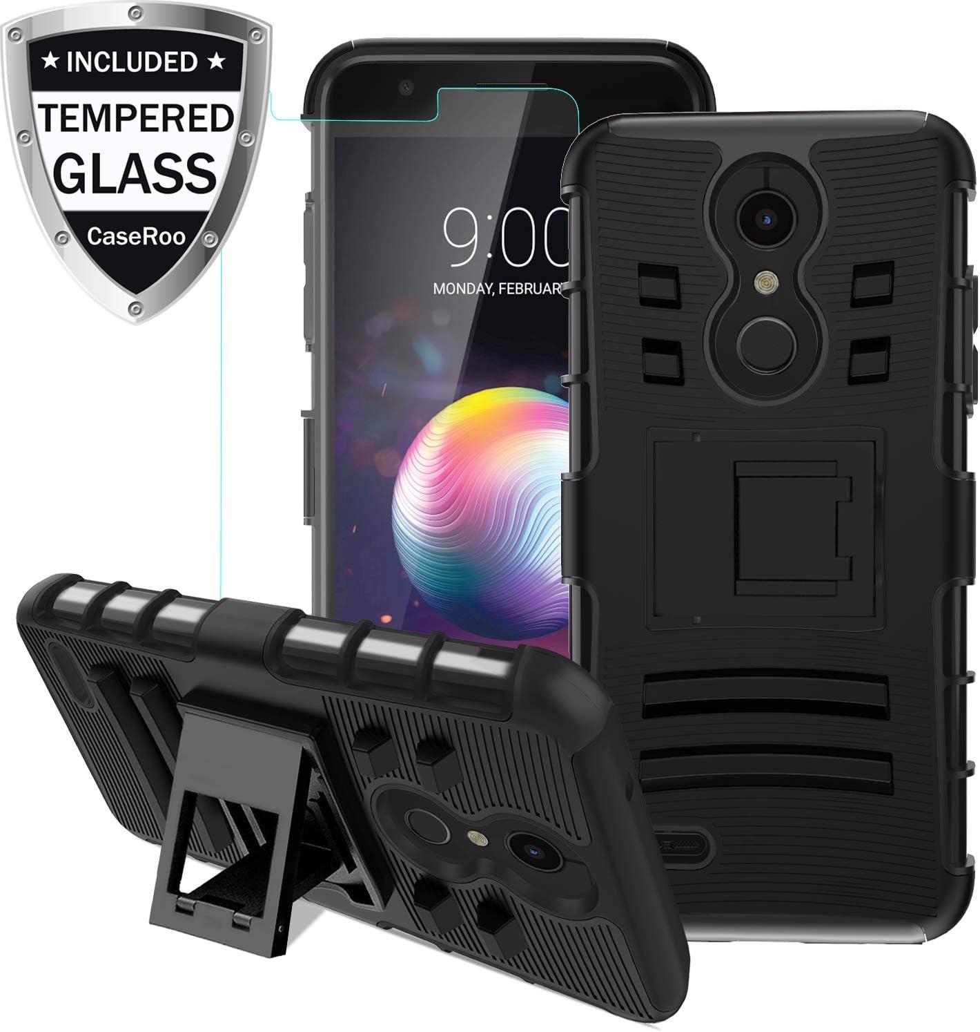 LG K30 Case,LG K10 2018/LG Xpression Plus/LG CV3 Prime/LG Harmony 2/LG Phoenix Plus/Premier Pro LTE Case w/Tempered Glass Screen Protector,Kickstand Heavy Duty Shockproof Protective Phone Cover,Black
