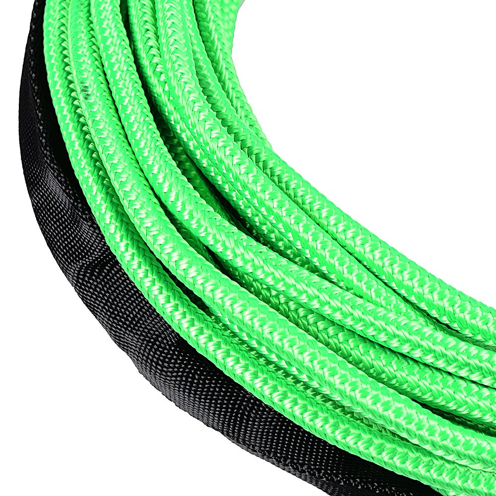 Astra Depot 50 x 1//4 Green 7000lbs Strong Synthetic Winch Rope Rock All Heat Guard Yellow Heavy Duty Half-Linked Hook Truck ATV UTV KFI Rubber Stopper