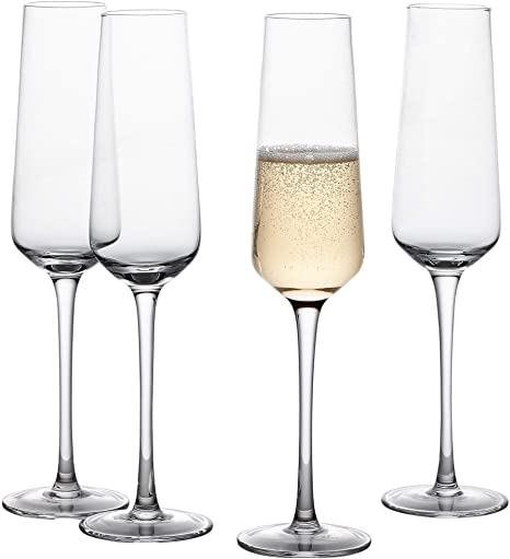 and Parties Anniversaries Premium Drinkware and Glassware Gifts for Weddings Modern Crystal Stemware and Flute Glasses for Toasting Champagne Flutes Set of 4 Holidays