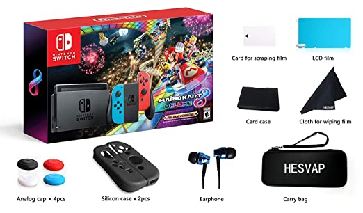 Amazon Com Nintendo Switch Mario Kart 8 Deluxe Blue Red