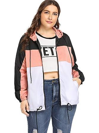 980c64c2531 Milumia Women s Color Block Drawstring Hooded Zip up Sports Plus Size Jacket  Windproof Windbreaker Multicolor-