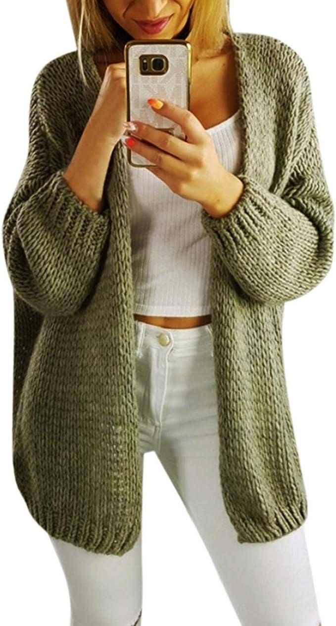 Übergröße Damen Strickjacke Sweatshirt Mantel 3 Farben Cardigan Poncho Pullover