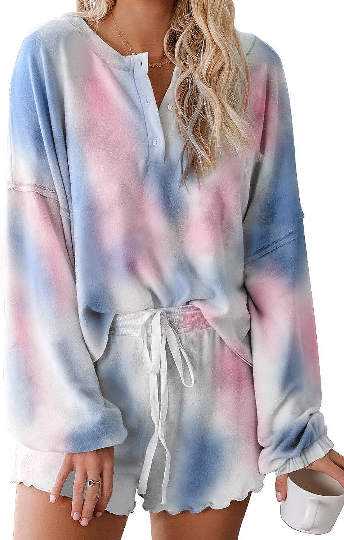 Dosoop Women Tie Dye Sweatsuit Pajamas Long Sleeve Top and Elastic Drawstring Shorts PJ Set Loungewear Nightwear Sleepwear