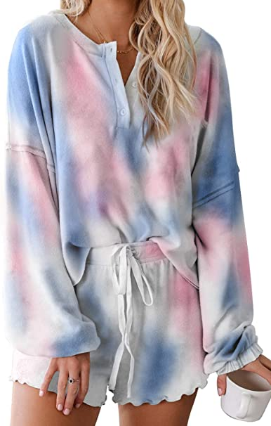 Cyenaly Womens Tie Dye Print Pajama Set 2 Pieces Sleepwear Short Loungewear Nightwear S-2XL
