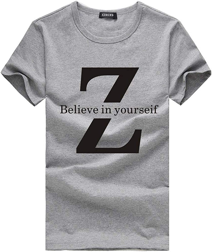 Mens T Shirt Short Sleeve Crewneck,Casual Summer Letter Printed Lightweight Tee Top Sports Shirts