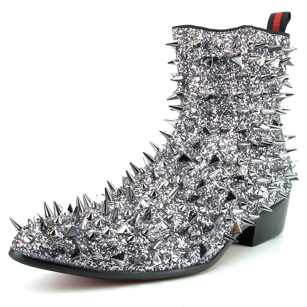 European Shoe Designs Fiesso by Aurelio Garcia FI-7316 Silver Glitter Silver Spikes Boot with Side Zipper