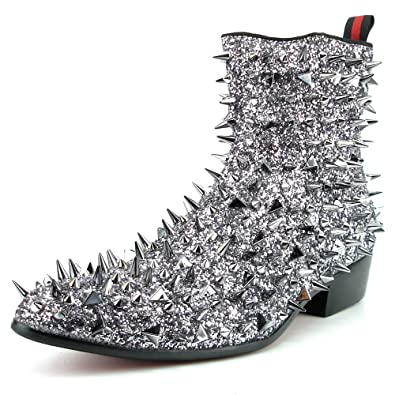 81cbb2d92 Fiesso by Aurelio Garcia FI-7316 Silver Glitter Silver Spikes Boot with  Side Zipper -