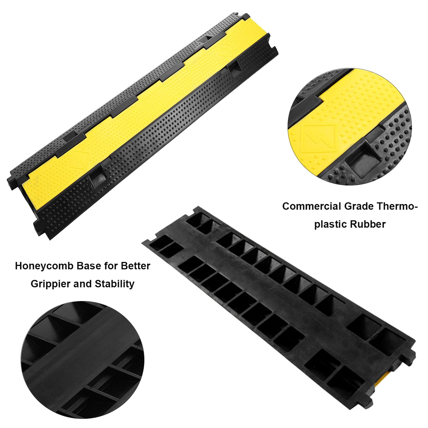 Reliancer 3 Pack Dual Channel Rubber Cable Protector Ramp 2 Channel Traffic Speed Bump 11000lbs Capacity Heavy Duty Hose Cable Track Protector Protective Cover Wires Concealer w/Flip-open Top Cover by Reliancer (Image #3)
