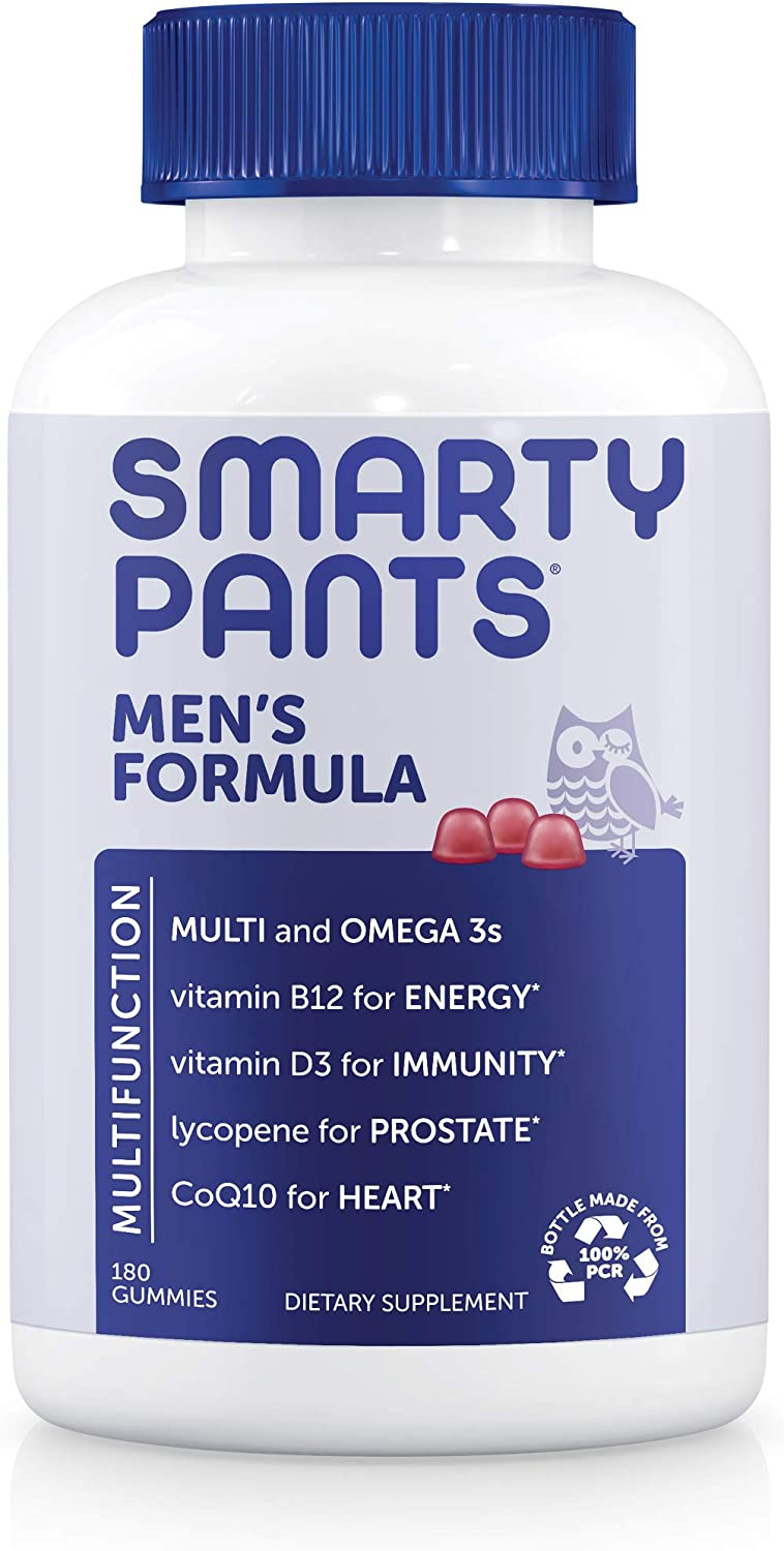 SmartyPants Men's Formula Daily Gummy Multivitamin: Vitamin C, D3, and Zinc for Immunity, CoQ10 for Heart Health, Omega 3 Fish Oil, B6, Methyl B12 for Energy, 180 Count (30 Day Supply): Health & Personal Care