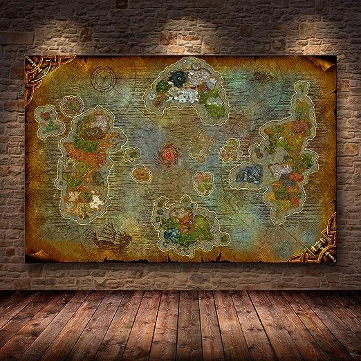 El Cartel Decoración Pintura del Mapa en Lienzo HD Lienzo ...