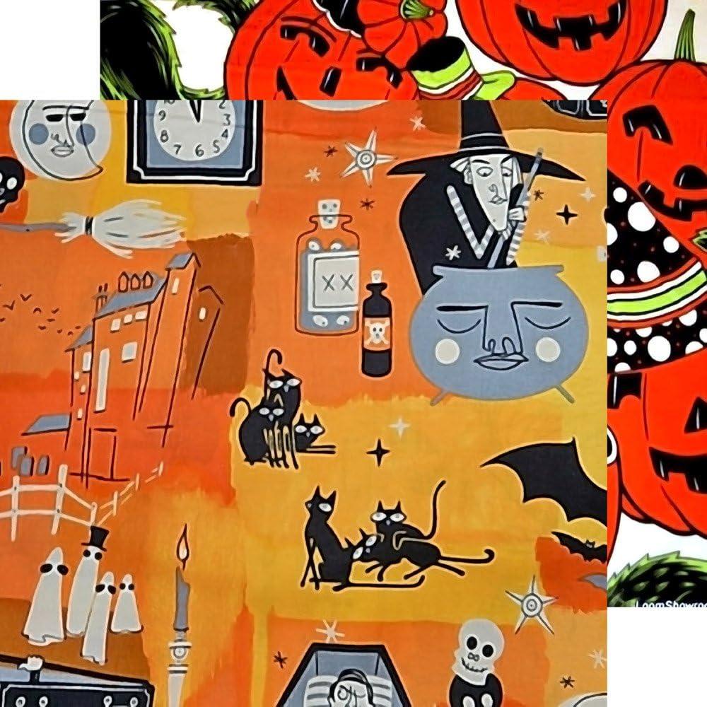 10sheets A4 // 8x12 Decoupage Paper Pack Halloween Witch Pumpkin FLONZ Vintage Paper