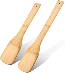 2 Pieces Wooden Stirring Paddles Long Mixing Spatula 23.6 Inch and 17.7 Inch, Kitchen Stir Paddle for Cooking, Non-Stick Pan, Pots, Grill