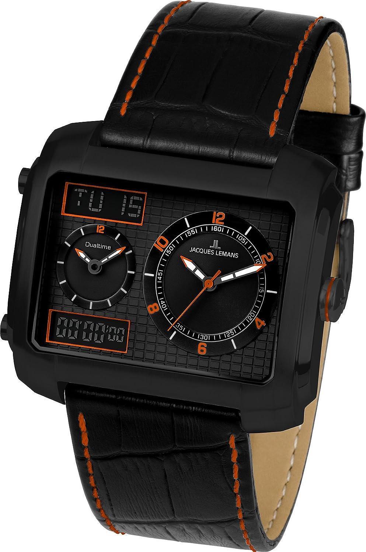 Jacques Lemans 1-1708E - Reloj analógico y digital de cuarzo para hombre con correa de piel, color negro