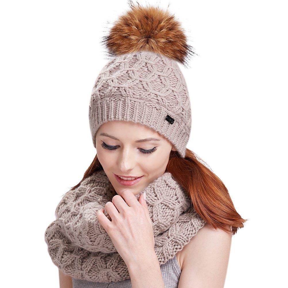 3e3e7e83cf5 Amazon.com  Womens Winter Pom Hat Set - Fur Ball Knit Beanie Hats and Scarf  For Girls FURTALK Original