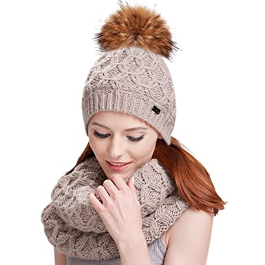 473578a6a2563 Womens Winter Pom Hat Set - Fur Ball Knit Beanie Hats and Scarf For Girls  FURTALK