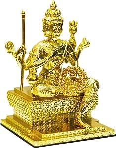 "Golden Alloy Thai Sitting Brahma 4""Tall Indoor Erawan Shrine Phra Phrom Statue Religious Four-Faced God for Prayers"