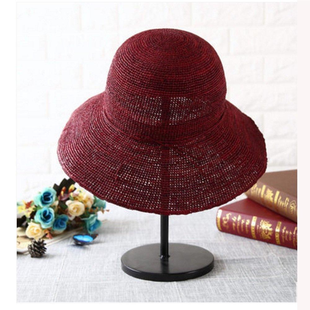 Dark Red NAN Liang Straw Hat Female Summer Korean Sunscreen Straw Hat Big Beach Hat Travel Sunscreen Shopping Straw Hat Beige Dark Red Navy bluee (color   Beige)